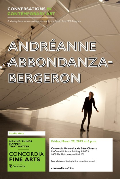 CICA Presents Andréanne Abbondanza-Bergeron - Friday, Mar. 29 6:00pm, Deseve Cinema