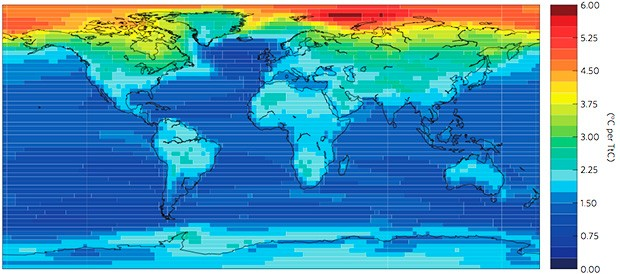 This map illustrates the average temperature increases worldwide, shown in °C warming per teratonne of carbon in CO2 emissions. | Image courtesy of Leduc, Matthews, Elía,