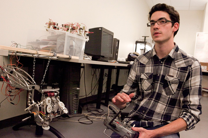 Mechanical engineering student Gavin Kenneally in the EV Buildings HYCONS lab. | Photo by Concordia University
