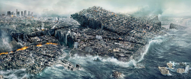 In the movie <i>2012</i>, filmmakers used ancient Mayan prophecies to depict how a calamity would wipe out the world. | Doomsday scenario depicted in <i>2012</i>, the movie. Copyright: Sony Pictures.