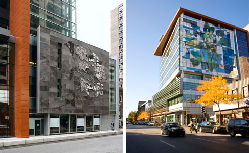 From left to right: Lierre sur pierre, designed by Geneviéve Cadieux. | Photo courtesy of the Faculty of Fine Arts; and Untitled, Nicolas Baier's mural on the Engineering, Computer Science and Visual Arts Integrated Complex. | Photo courtesy of the Concordia University Magazine.