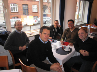 Members of the winning team during preparations for a meeting in Copenhagen last year. From left to right: Jochen Jaeger, Tomas Soukup, Christian Schwick, Luis F. Madrinan, and Hans-Georg Schwarz-von Raumer. | Photo by J. Jaeger