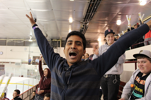 GradConnect participant Ashis Kumar Bhowmik celebrates after the Stingers score a goal in their Corey Cup victory over the McGill Redmen.