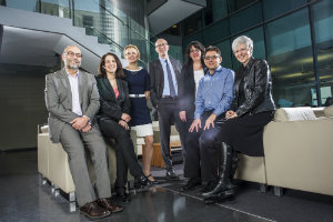 Acfas organizing committee (from left): Sami Antaki, Angela Luciano, Sabrina Lavoie, Graham Carr, Guylaine Beaudry, Ollivier Dyens and Marie-Josée Allard. | Photo by Concordia University
