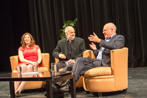 Researcher Jennifer McGrath, moderator André Picard and New York Times food critic Mark Bittman discuss obesity on March 19, 2013.