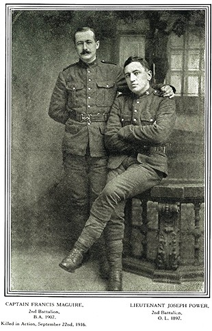 Loyola alumnus Capt. Francis Maguire, BA 1907, left, and Lieut. Joesph Power of the 2nd Battalion.