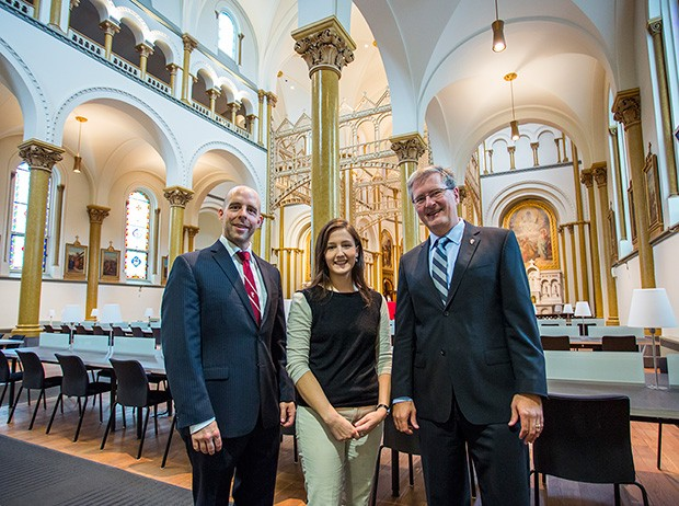Concordia Political Science student Jessica Lelièvre was the first student to enter the new Grey Nuns Reading Room. She was  welcomed by (right) President Alan Shepard and Provost Benoit-Antoine Bacon (left).