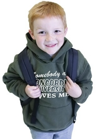 """Somebody at Concordia University loves me"" sweatshirts for kids are available in grey, pink purple or blue for just $12.99."