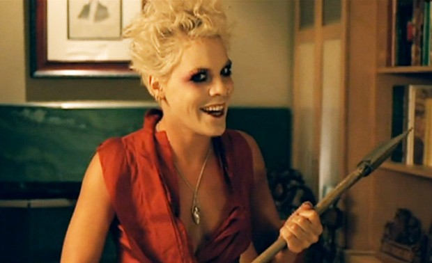 "Pink in the video for her song, ""Please Don't Leave Me."""