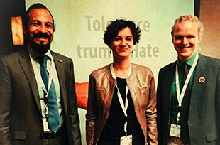 Vivek with co-panelists Jan Dabkowski from the No Hate Speech Movement, and Floriane Hohenberg from Active Democracy.