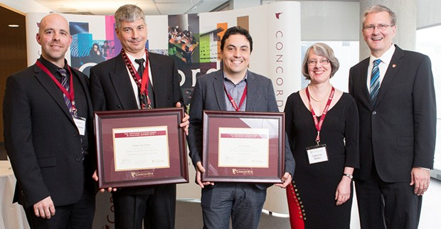 From left: Benoit-Antoine Bacon, provost and vice-president, Academic Affairs; Ted (Tadeusz) Obuchowicz; Ivan Contreras; Catherine Bolton, vice-provost, Teaching and Learning and Alan Shepard, president, Concordia University.