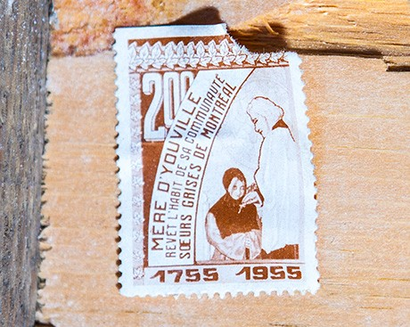 60-year-old stamps uncovered in the walls of the Grey Nuns Residence