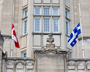 University flags at half-mast