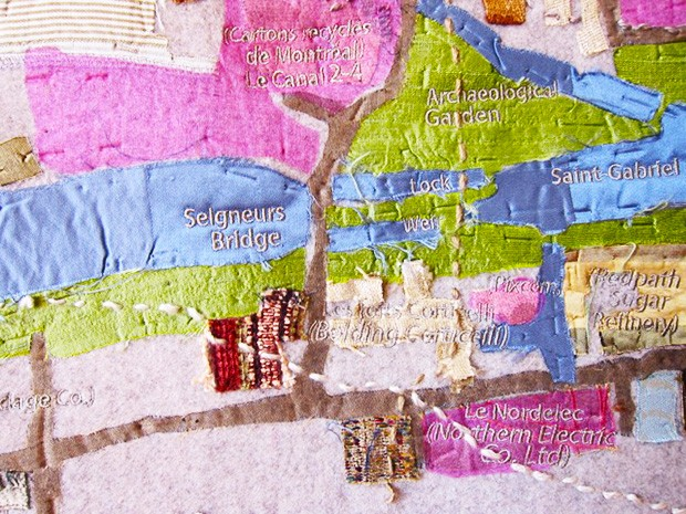 "Detail of Lachine Canal (hand embroidery on textile appliqué) by artist and art education professor Kathleen Vaughan: ""Maps empower people by emphasizing their own sense of entitlement to space."""