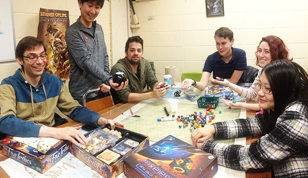 """It's a great de-stressor…"" Concordia's Games Club at a recent meet-up on the Loyola Campus."