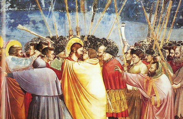 """Kiss of Judas,"" one of the most dramatic scenes from Giotto's frescos at the Scrovegni Chapel. 