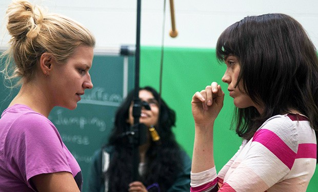 "An ""intense period of pure creation"": Junna Chif (left) on the set of Mme Liliane with actress Catherine Bérubé."