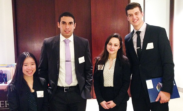 Concordia's CEO for a Day semi-finalists. Left to right: Virginia Law, Jason Azzoparde, Sarah Caraman and Mark-Yves Zwanenburg.