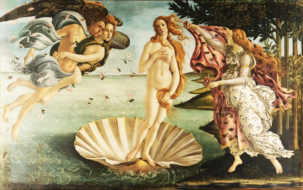 The Birth of Venus (Italian: <em>Nascita di Venere</em>) is a painting by Sandro Botticelli generally thought to be a represention of the Neoplatonic idea of divine love in the form of a nude Venus. | Image via Wikimedia and the Google Art Project