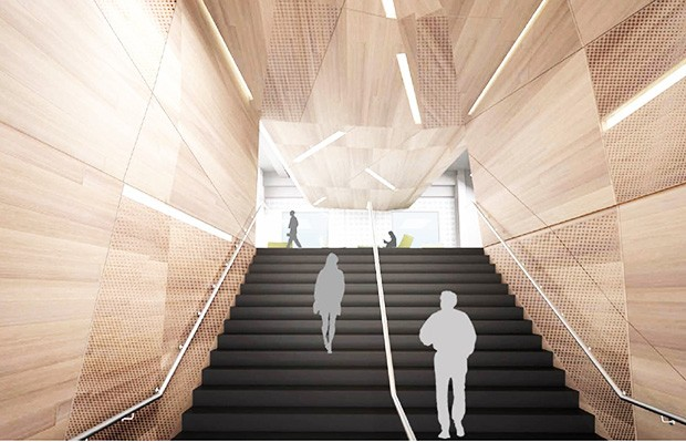An architectural rendering of the Webster Library's future main staircase leading to the second floor (LB2).  | Image courtesy of Menkès Shooner Dagenais LeTourneux Architectes