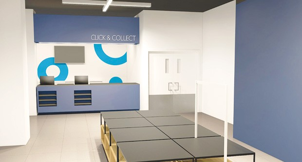 Architectural rendering of the new Click and Collect counter. | Courtesy of Aedifica