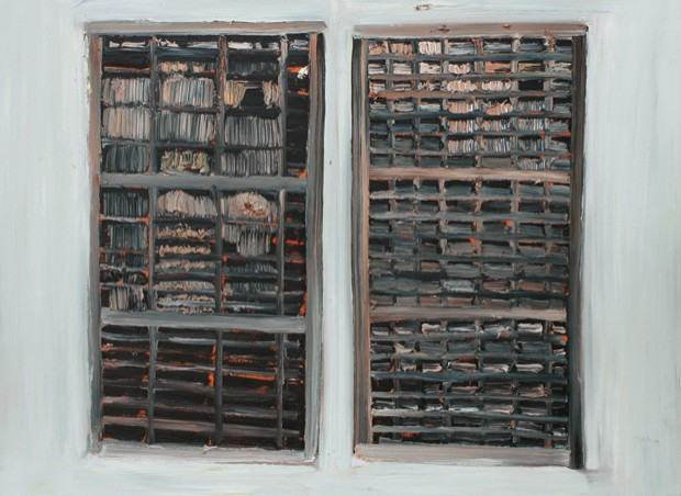 Two empty trays mounted vertically, 2015, by Brian Hunter.