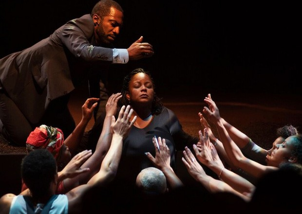 Alum Quincy Armorer (top) performs in The Adventures of a Black Girl in Search of God.