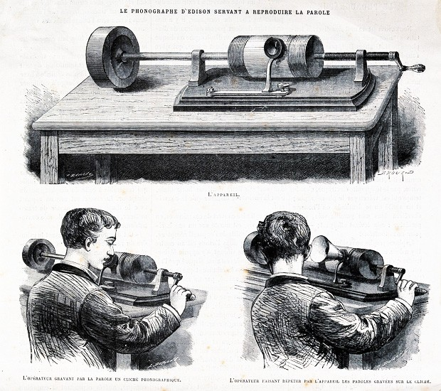 Acoustics: an Edison wax cylinder recorder. Wood engraving. | Image via Wikimedia Commons