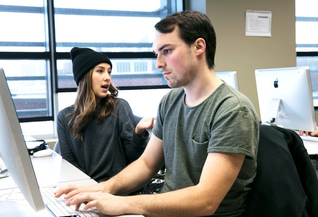 "Matthew Gilmour (pictured here with fellow journalism student Emilee Gilpin): ""We're going to have to change the way we do things."" 