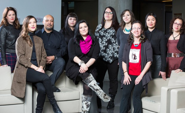 From left: Elizabeth Fast, Emilee Gilpin, Jason Edward Lewis, Cherry Smiley, Heather Igloliorte, Shiann Whitebean, Tiffany Ashoona, Louellyn White, Charmaine Lyn and Marie-Ève Drouin-Gagné.