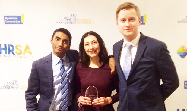 JMSB undergrads Brenden Kumarasamy, Catherine Trudeau and Ian Hutt-Borrelli won first at Ryerson's 2017 Organizational Behaviour Case Competition.