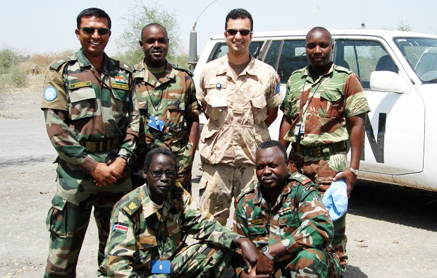 Major Daniel Doran with Sudanese soldiers during one of his missions.