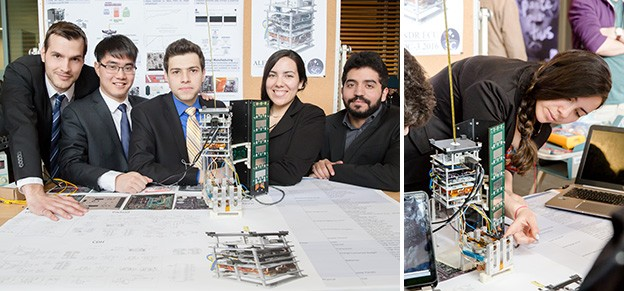 At last year's Capstone Fair, Nathaly Arraiz (right) and her team displayed their mini satellite, called a CubeSat.