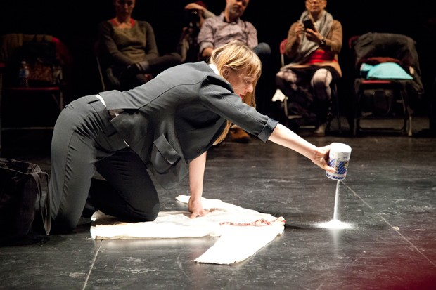 Humanities PhD alumna Tatiana Korolova during her performance Rara Avis. | Photo by Michael JH Wooley
