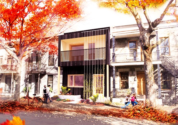 TeamMTL's design for the Deep-Performance Dwelling is inspired by typical Montreal row houses. | Image courtesy TeamMTL