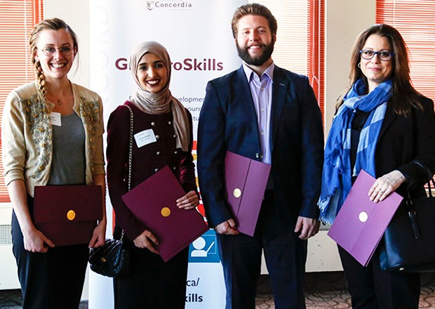 From left: PhD winner Darian Stahl, master's and People's Choice Award winner Deema Galambo, master's runner-up Jonathan Leclerc, PhD runner-up Nadia Naffi (not pictured: PhD People's Choice Award winner Laura Shine).