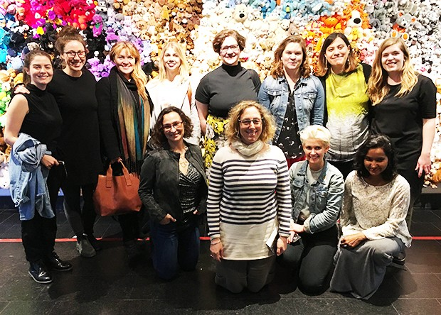 Erica Lehrer (front row, far left) and co-organizer Shelley Butler/McGill (front row, center) with students at the Montreal Museum of Fine Arts.