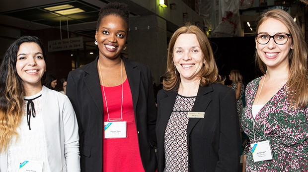 From left: Safaa Najim (international business), Oumou Keita (marketing), Sally Craig, and Emma Alguire (Human Resource Management).