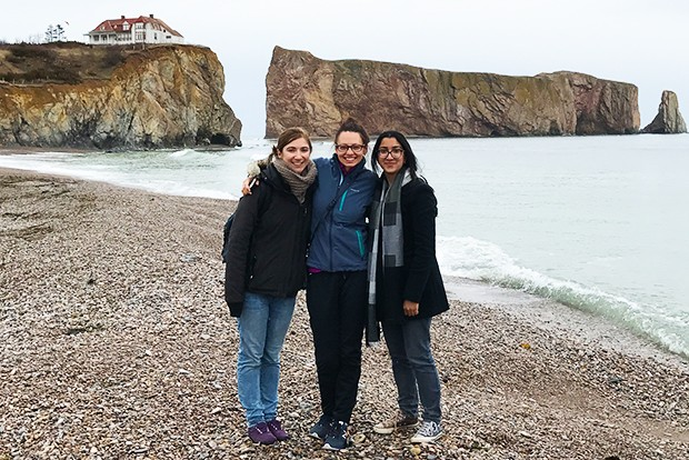 The team (seen here in Percé) visited six different schools in the Gaspésie.