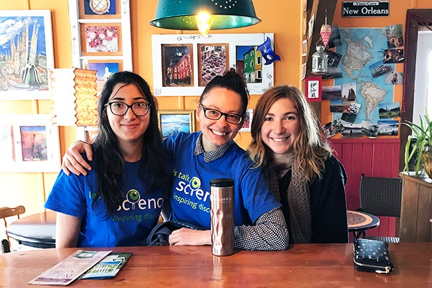 Let's Talk Science Concordia volunteers Leah Sarah Peer, Yuliya Kondratenko and Astrid de Jaham.