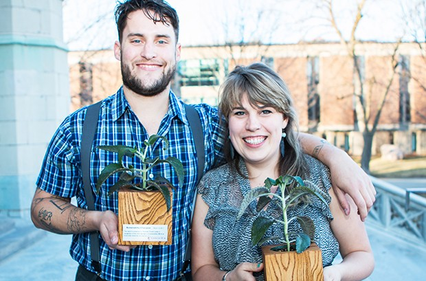 From left: sustainability champions Matthew Donald Leddy and Anna Timm-Bottos.