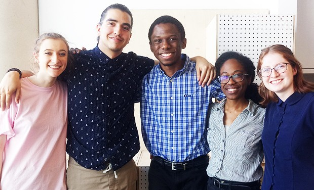From left to right: Maara-Louisa Dunbar, Jaime Andres Hernandez, Ngoma Emeka, Lindsey Carter and Kelly McManus. | Photo by District 3