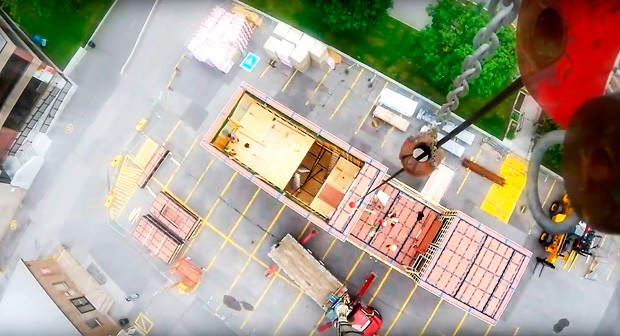 An aerial view of TeamMTL's construction of an innovative row house. | Courtesy: TeamMTL