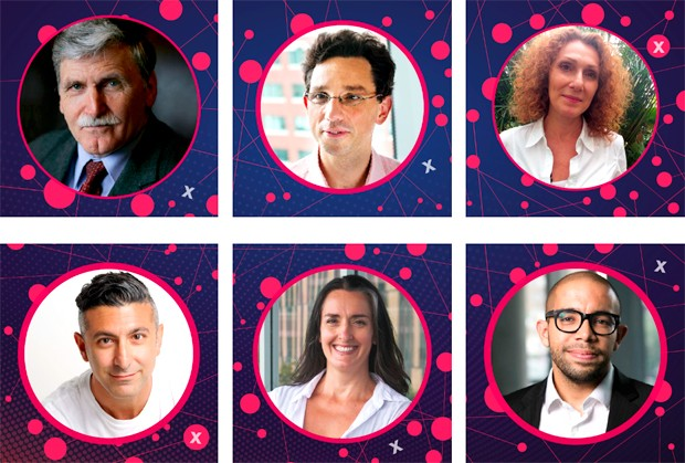 Some of the speakers at this year's TEDxConcordia event. Clockwise from top left: Roméo A. Dallaire, Luis Rodrigues, Carmela Cucuzzella, Brad Aeon, Sarah Jenna and Garen Jemian. | Image courtesy of TEDxConcordia