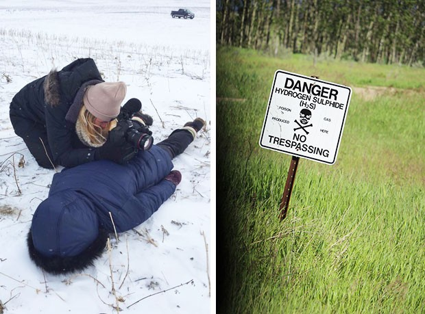 Janelle Blakley (left) uses colleague Brenna Engel as a makeshift tripod. Poison gas sign (right) photographed by Michael Wrobel.