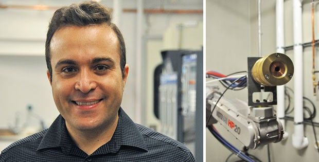 Navid Sharifi uses a technique called suspension plasma spraying to apply nanostructured coatings to airplanes.