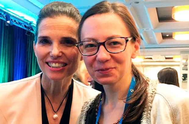 The Honourable Kirsty Duncan, Minister of Science (left) with student Yuliya Kondratenko. | Photo courtesy of Yuliya Kondratenko