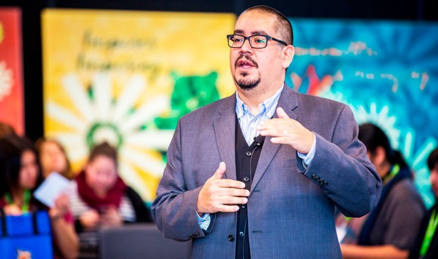Kam'ayaam/Chachim'multhnii (Cliff Atleo, Jr.) delivered the keynote address. | Photo by Concordia University