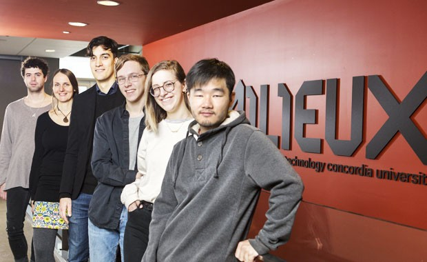 Six of Milieux's 11 undergraduate fellows. From left: Dion Smith-Dokkie, Ryth Kesselring, Kieran Airey-Lee, Ben Compton, Abbie Rappaport and Michael Li.