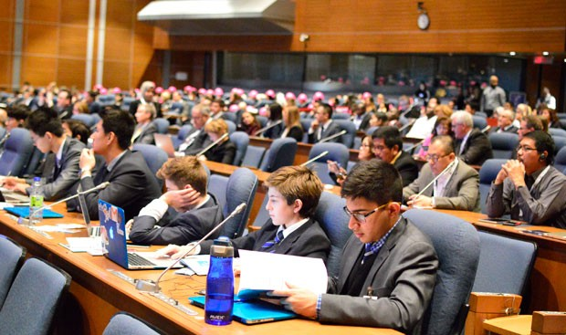 Diplomats and participants of the Model ICAO forum attending the Opening Ceremony of the NGAP Summit.